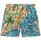 Burberry Blue and Sand Branded Seaside Print Swim Shorts