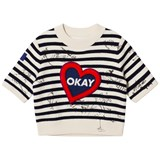 Burberry Navy and White Stripe Heart Applique Okay Sweatshirt