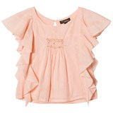 Velveteen Pale Pink Smocked Detail Frill Vivi Blouse with Lurex Stripes