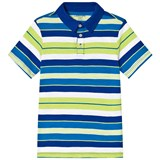 Lands' End Blue and Green Stripe Short Sleeve Polo