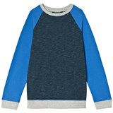 Lands' End Navy Crew Sweatshirt with Blue Sleeves