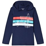 Lands' End Navy and Multi Stripe Plane Graphic Hoodie