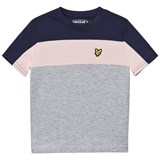 Lyle & Scott Navy, Pink and Grey Colour Block T-Shirt