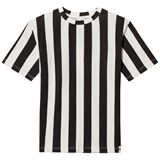 Popupshop Black and Off White Stripe T-Shirt