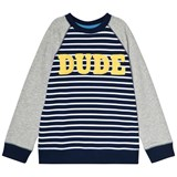 Lands' End Navy Stripe Dude Graphic Crew Sweatshirt