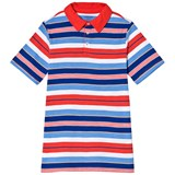 Lands' End Red and Blue Stripe Short Sleeve Polo