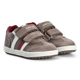 Geox Mink and Red Suede Vita Velcro Trainers