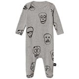 NUNUNU Heather Grey Skull Mask Footed Babygrow