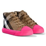 Burberry Beige and Pink Classic Check Zip and Lace Trainers