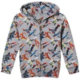 Little Eleven Paris Grey Super Hero All Over Print Zip Through Hoodie
