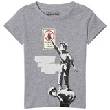 Little Eleven Paris Grey Banksy Graffiti Print T-Shirt