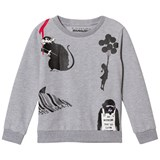 Little Eleven Paris Grey Banksy Multi Print Sweater