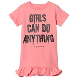 Little Eleven Paris Pink Girls Can Do Anything Print Jersey Dress