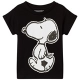 Little Eleven Paris Black Snoopy Print T-Shirt