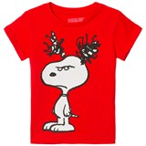 Little Eleven Paris Red Snoopy Print T-Shirt