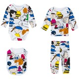 Little Eleven Paris Multi Peanuts Print 4 Piece Set