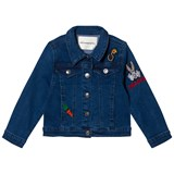 Little Eleven Paris Blue Denim Jacket with Bugs Bunny Embroidered Detail