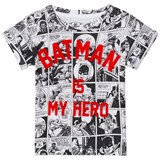 Little Eleven Paris White and Black Batman Comic Strip Batman is My Hero T-Shirt