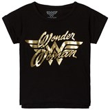 Little Eleven Paris Black Wonder Woman Gold Printed T-Shirt