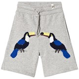 Popupshop Grey Melange Sweat Shorts with Toucan Embroidery