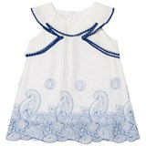 Dr Kid White with Blue Embroidered Detail Infants Dress
