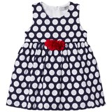 Dr Kid Navy Spotty Infants Dress with Red Frill Applique