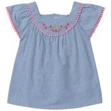 Dr Kid Blue Chambray Embroidered and Pink Trim Blouse