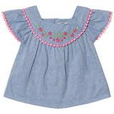 Dr Kid Blue Chambray Embroidered and Pink Trim Infants Blouse