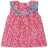 Dr Kid Red Floral Infants Dress with Gingham Collar Detail