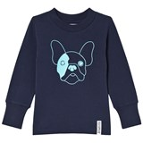 Geggamoja Marine Blue Long Sleeve Dog Print T-shirt