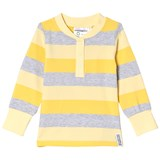 Geggamoja Pale Yellow Striped Grandpa Sweater
