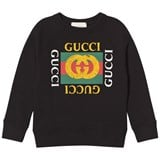 Gucci Black Felted Long Sleeve Retro Logo Sweatshirt