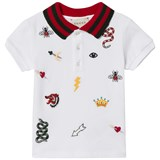 Gucci White Embroidered Icons and Knit Collar Pique Polo