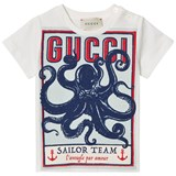 Gucci White Short Sleeve Octopus Gucci Print Tee