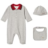 Gucci Grey Stretch Piquet Hat & Bib Gift Set