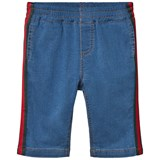 Gucci Blue Soft Jersey Denim Trousers with Web Detail