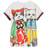 Gucci White Short Sleeve Cat Print Tee Dress with Knit Cuffs