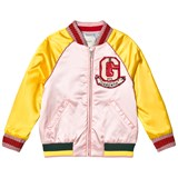 Gucci Pink and Yellow Satin Varsity Jacket with Sequin and Applique Tiger Detail