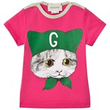 Gucci Fuchsia Cat Print T-Shirt with Branded Back