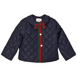 Gucci Navy Quilted Waterproof Jacket with Pearl Buttons
