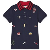 Gucci Navy Pique Icon Embroidered Polo with Knit Collar