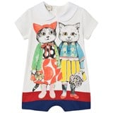 Gucci White Short Sleeve Cat Print Romper