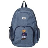 Ralph Lauren Blue Chambray Bear Embroidered Backpack
