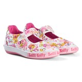 Lelli Kelly Cream And Pink Pollie Dolly Flower Beaded and Embroidered Velcro Shoes