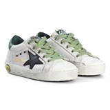 Golden Goose White Leather and Black Star Superstar Trainers