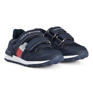 Tommy Hilfiger Navy and White Branded Velcro Trainers 22 (UK 5)
