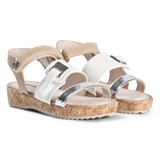 Mayoral White and Silver Cork Platform Sandals