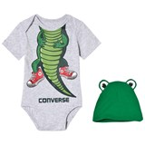 Converse Grey and Green Crocodile Creature Creeper and Hat Set