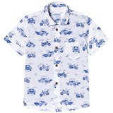Mayoral White and Blue Vehicle Print Shirt Effect T-Shirt
