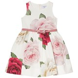 Monnalisa White Rose Jacquard Dress with Belt